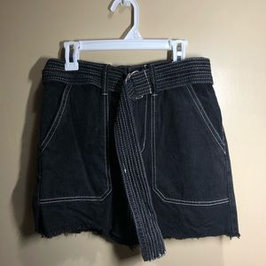 black denim skirt with white contrast stitching